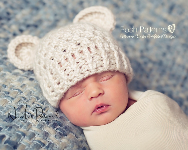 Crochet Baby Teddy Bear Hat Pattern : Crochet Pattern Bear Hat - Teddy Bear Beanie Pattern