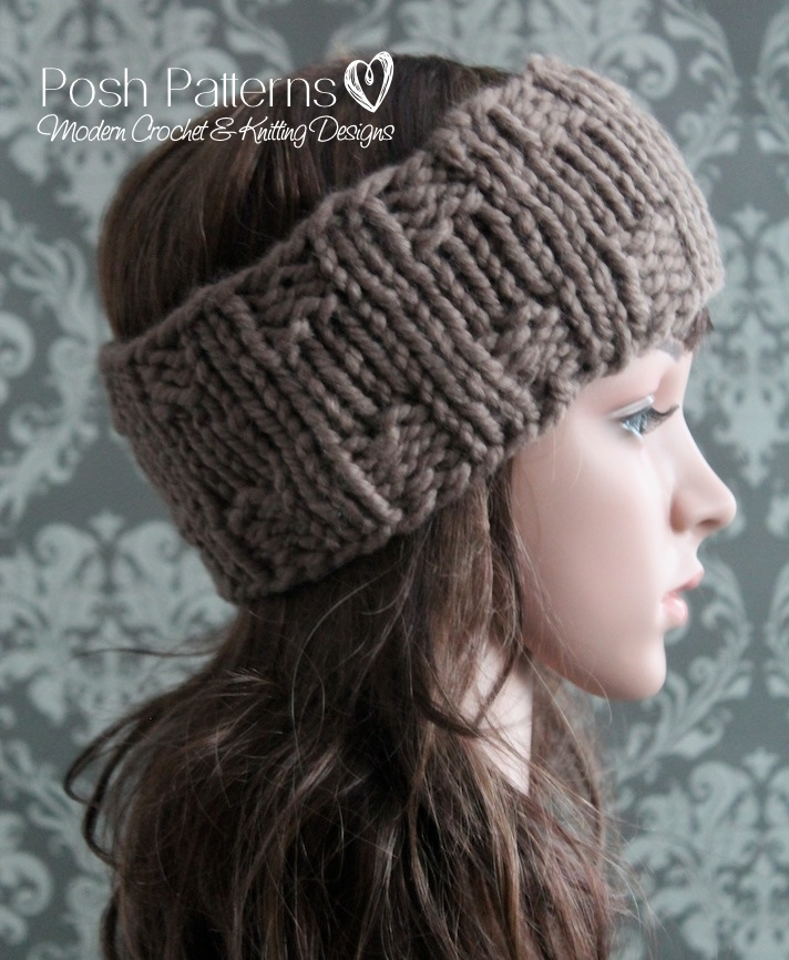 Knitting Patterns For Ear Warmers With Flower : Headband Knitting Pattern - Knit Ear Warmer Pattern
