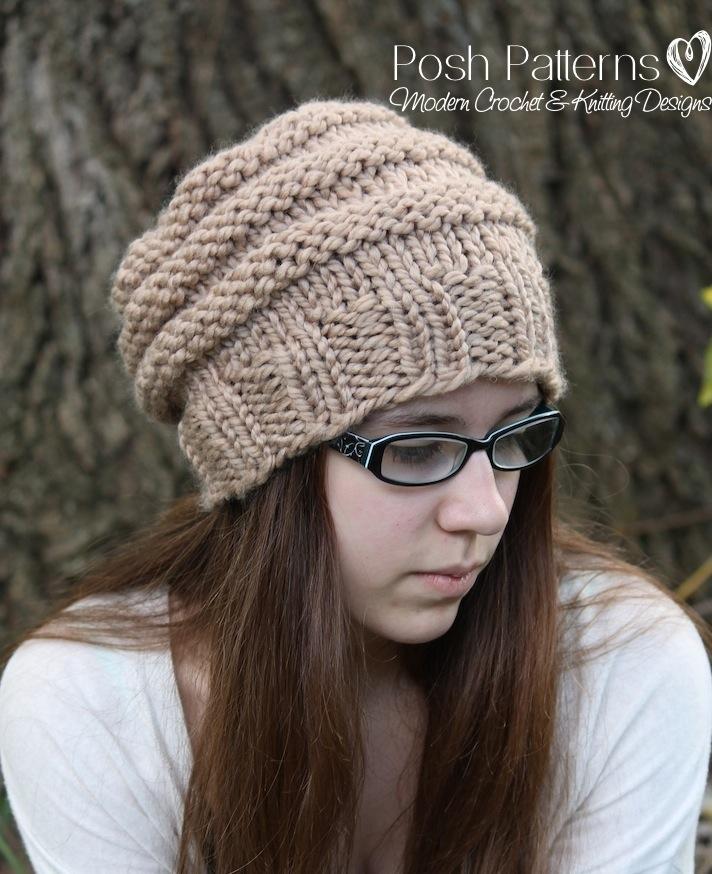 Easy Knit Hat Patterns For Kids : Knitting Pattern - Knit Slouchy Hat Pattern - Beehive Hat