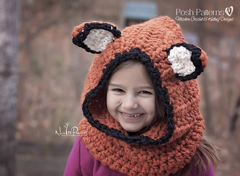Knitting Pattern Fox Hood : Fox Hooded Cowl Crochet Pattern - Crochet Hood