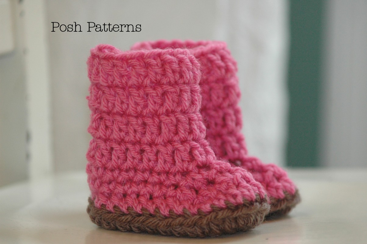 Crochet Baby Girl Boots Pattern : Crochet Pattern Easy Baby Boots Slippers 2 Sizes