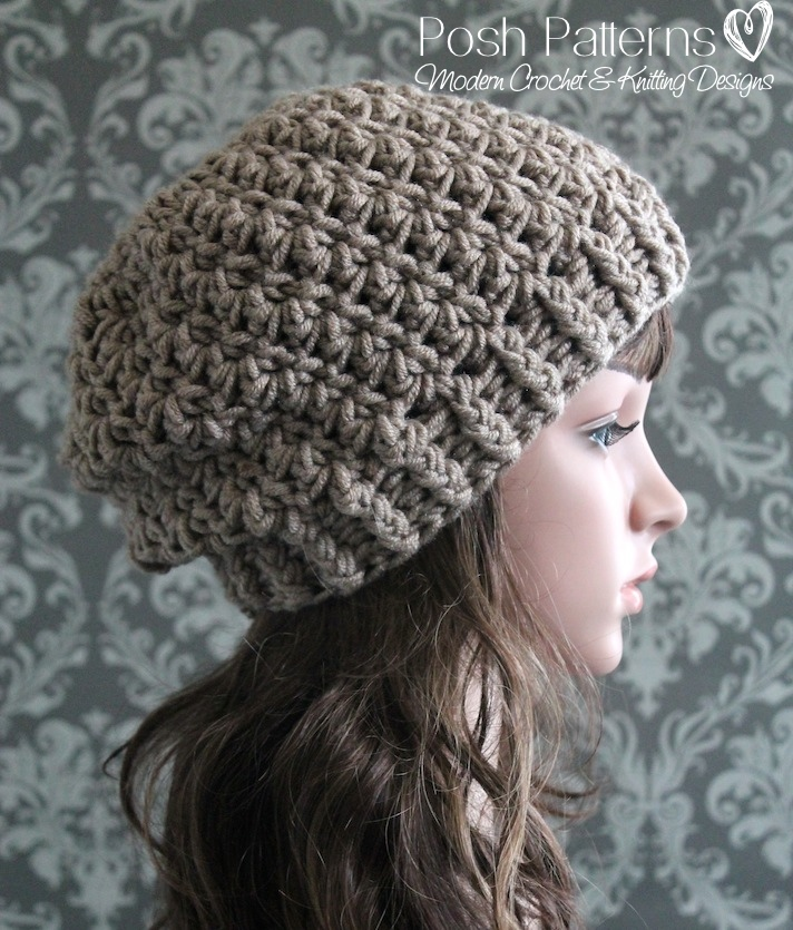 Crochet Hat Pattern Shell Stitch : Shell Stitch Slouchy Hat Crochet Pattern