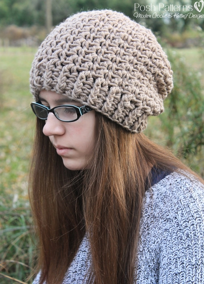 Crochet Slouchy Hat Pattern For Child : Shell Stitch Slouchy Hat Crochet Pattern