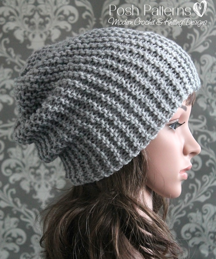 Knitting Hat Patterns Easy : Easy Slouchy Hat Knitting Pattern
