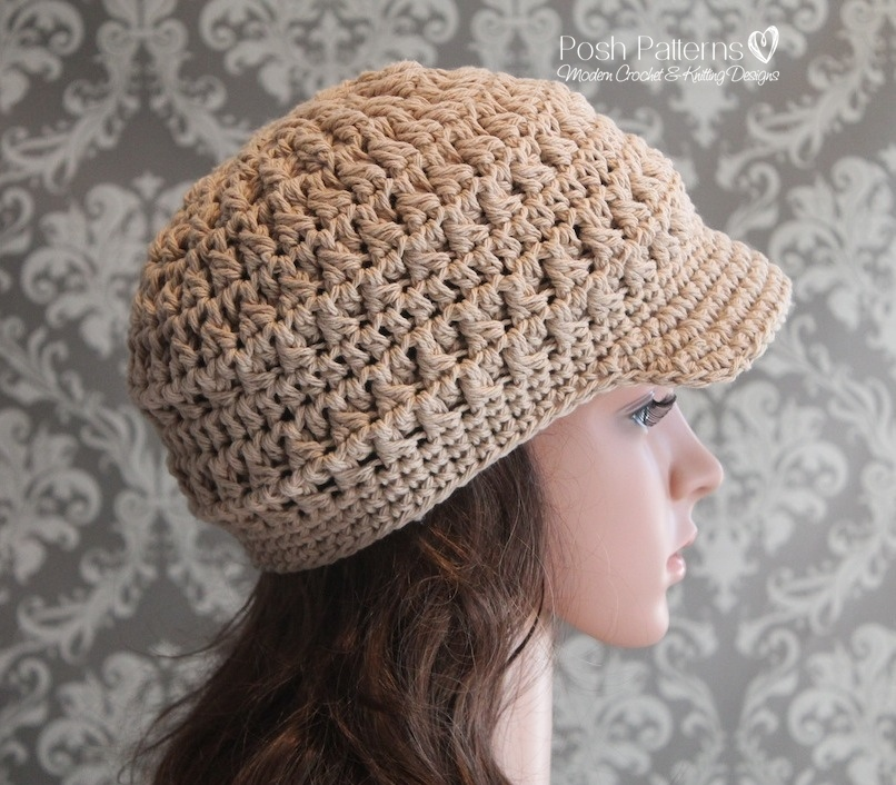 Free Crochet Hat Patterns To Download : Cluster Crochet Newsboy Hat Pattern Visor Hat