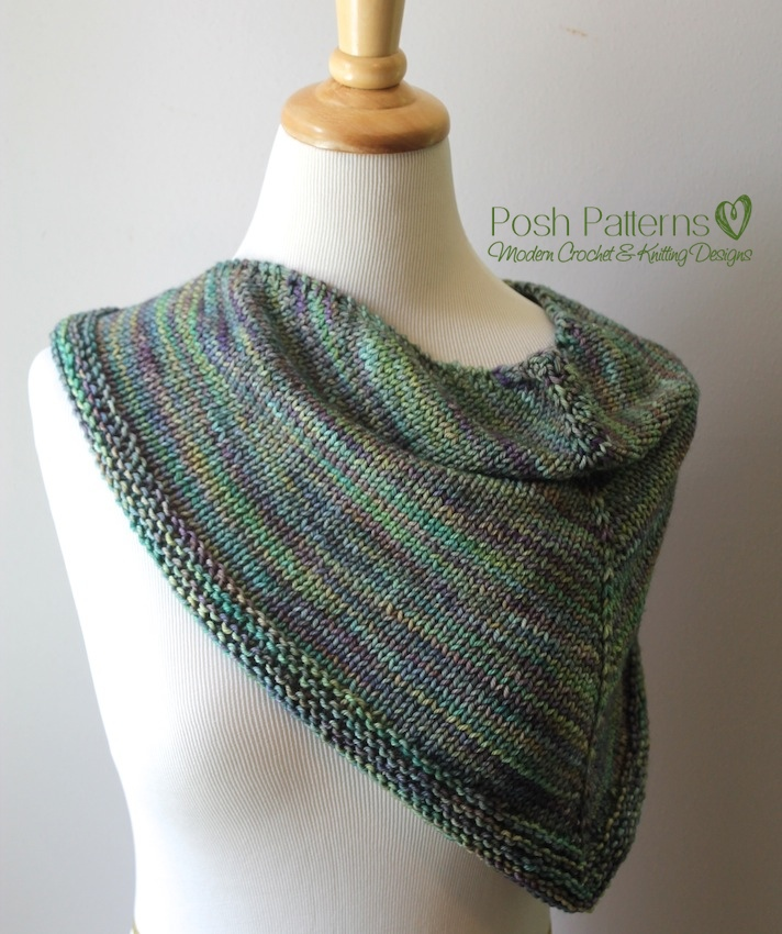 Free Triangle Scarf Knitting Pattern : Triangle Scarf Knitting Pattern Shawl Kerchief Pattern