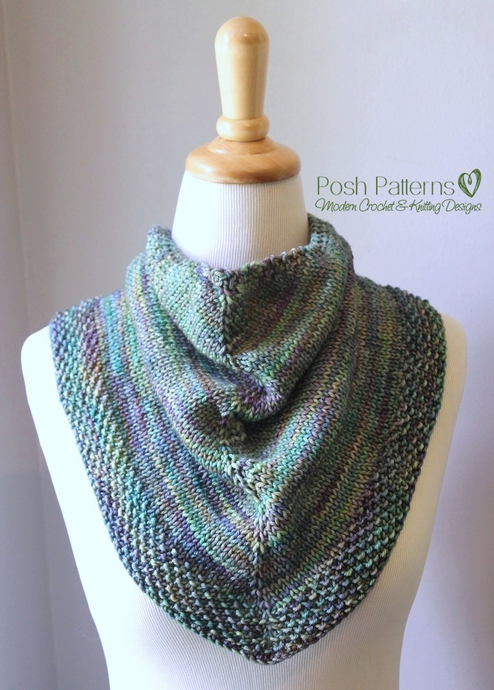 Knitting Patterns For Triangle Scarves : Triangle Scarf Knitting Pattern Shawl Kerchief Pattern