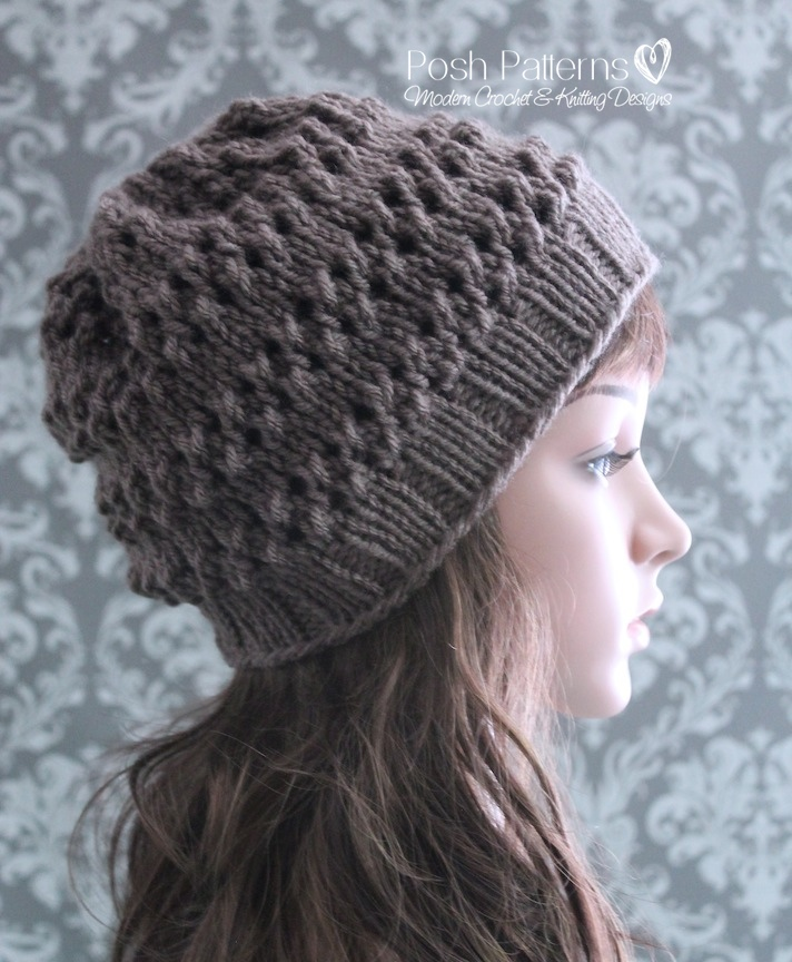 Eyelet Lace Hat Knitting Pattern - Girls Hat Pattern