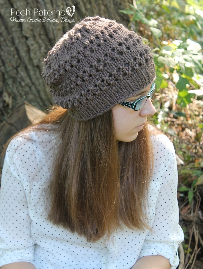 Knitting Pattern For Lace Hat : Eyelet Lace Hat Knitting Pattern - Girls Hat Pattern