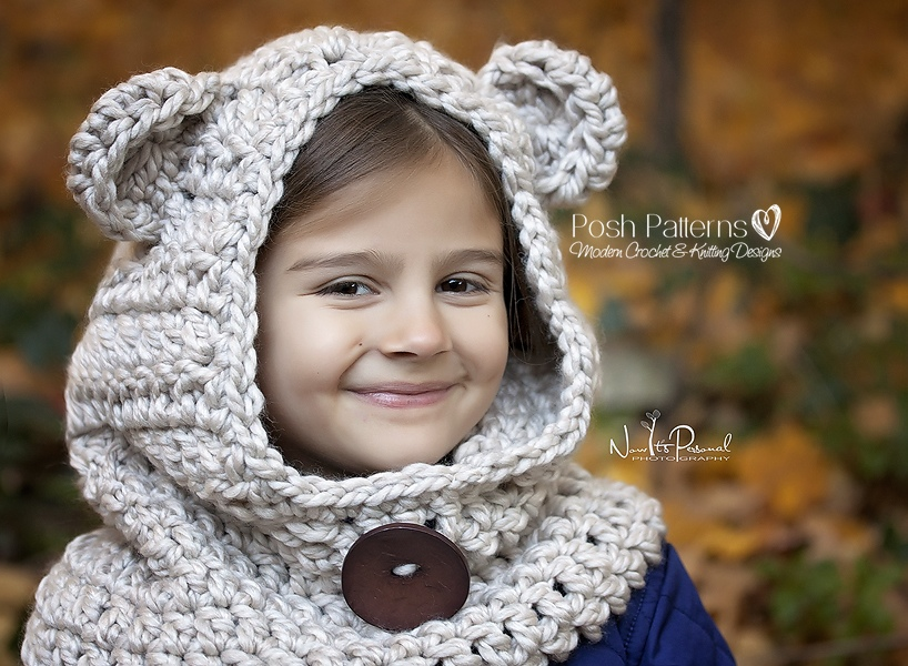 Crochet Baby Bear Cowl Pattern : Bear Hooded Cowl Crochet Pattern - Hooded Scarf