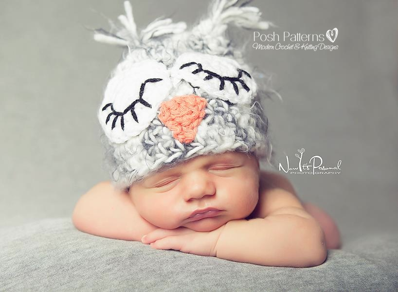 Crochet Baby Girl Owl Hat Pattern : Crochet Owl Hat Pattern - Baby Owl Hat