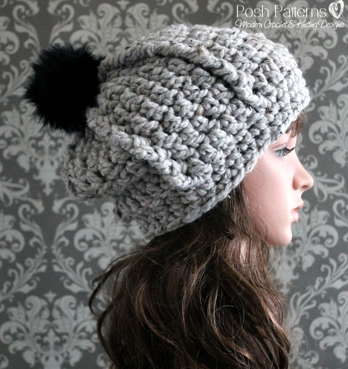 Easy Chunky Crochet Hat Pattern : Easy Ribbed Slouchy Hat Crochet Pattern