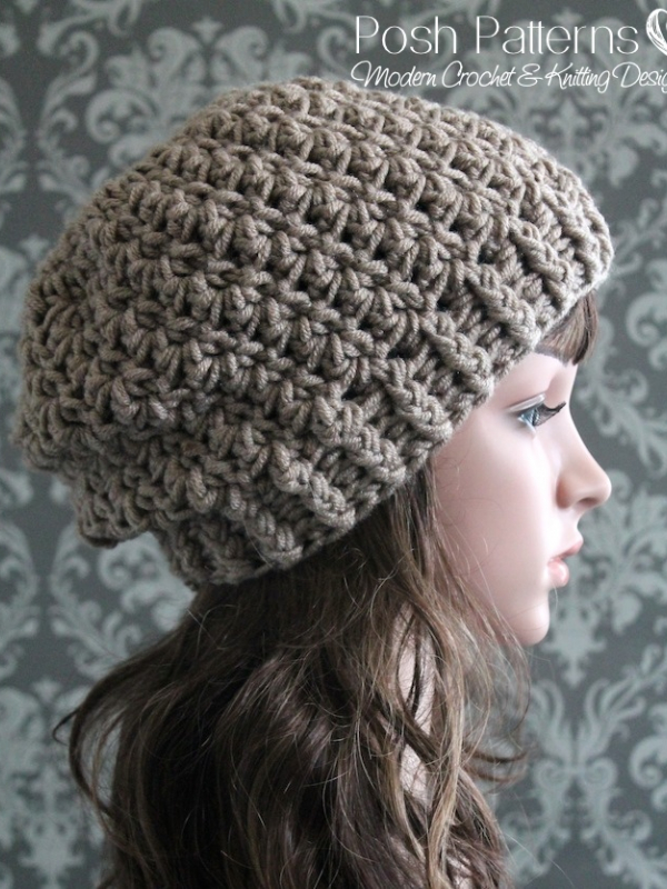 Easy Slouchy Crochet Hat Patterns : Shell Stitch Slouchy Hat Crochet Pattern