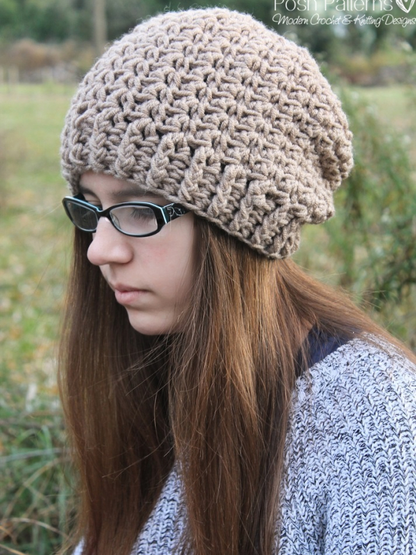 Crochet Patterns Website : Shell Stitch Slouchy Hat Crochet Pattern