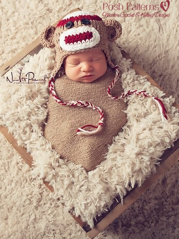 baby sock monkey hat pattern