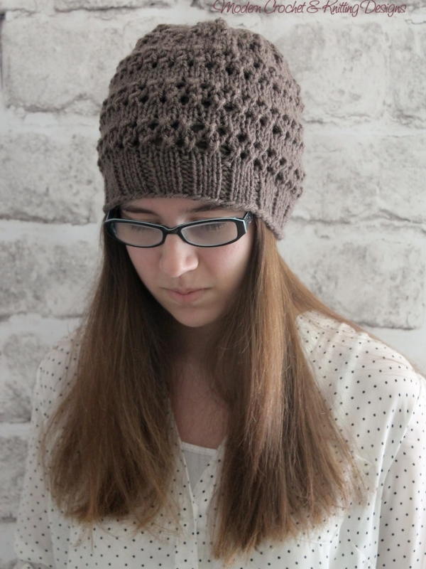 knit lace hat pattern