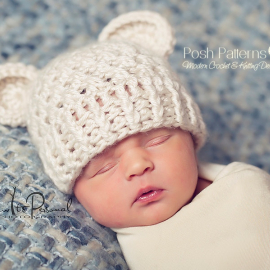 crochet hat pattern lacy baby bear beanie