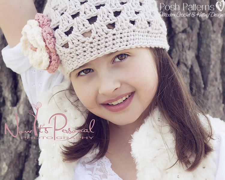 Crochet Hat Pattern Shell Stitch Beanie Flower