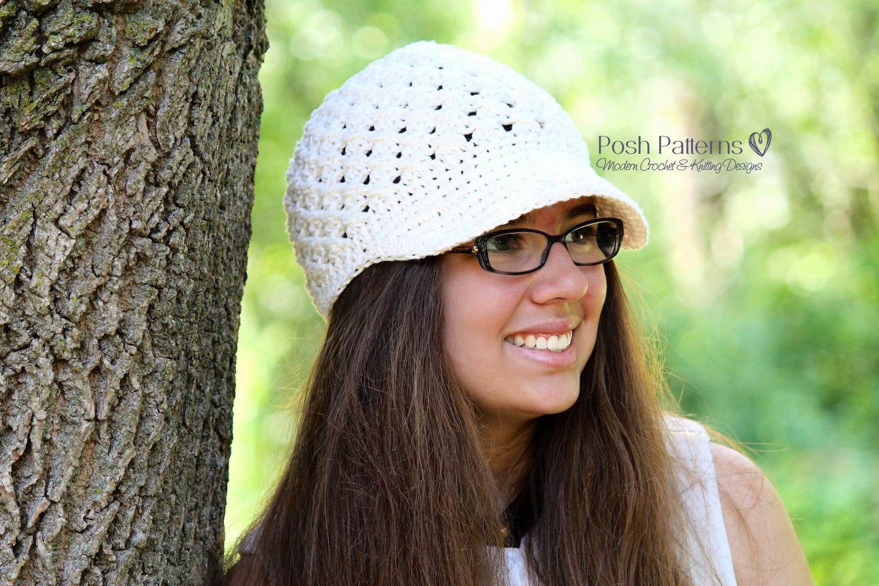 Crochet Newsboy Hat Pattern Cross Stitch Newborn to Adult Sizes