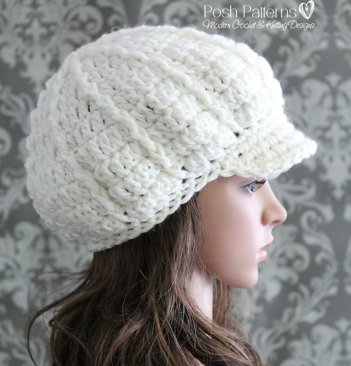 Slouchy Newsboy Hat Crochet Pattern Fashion Hat