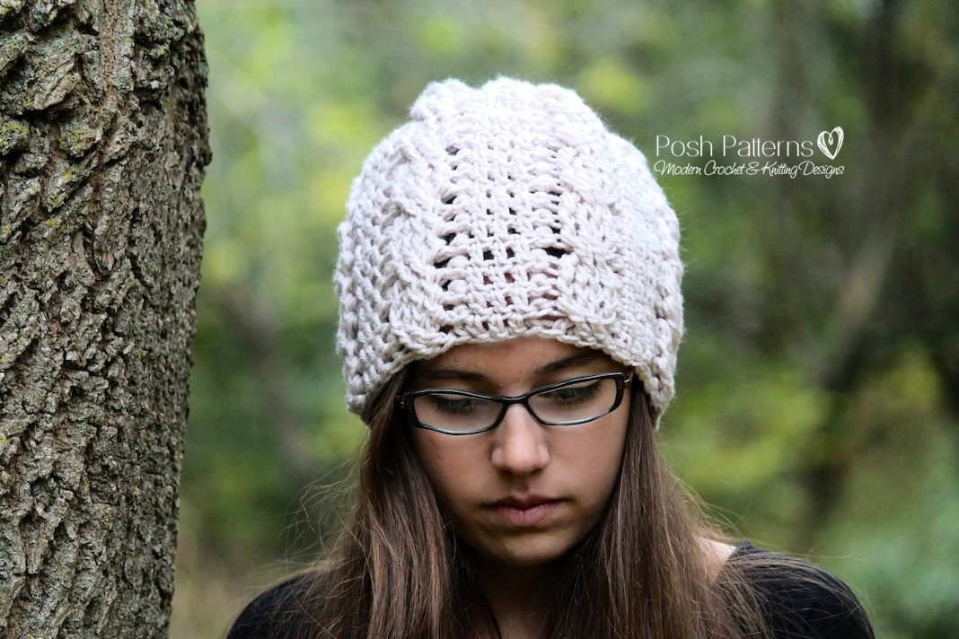 Slouchy Hat Crochet Pattern Crochet Cable Hat