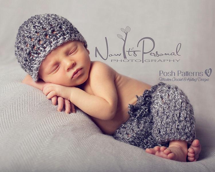 Crochet Pattern Newborn Hat Baby Pants Set