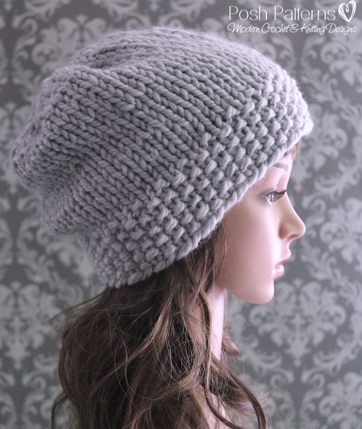 Slouchy Hat Knitting Pattern Knit Slouchy Hat