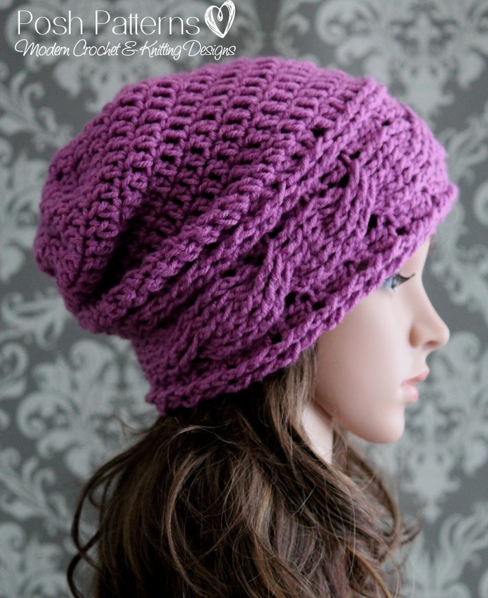 Horizontal Cable Crochet Slouchy Hat Pattern