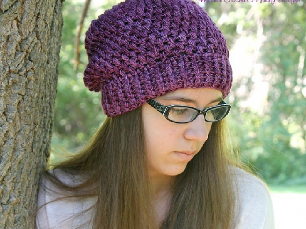 Slouchy Hat Crochet Pattern Cluster Stitch Slouchy Hat