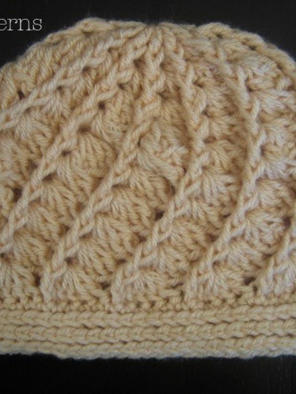 crochet beanie hat and flower pattern