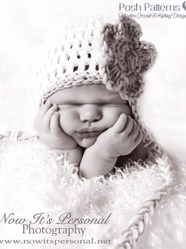 earflap hat crochet pattern with flower