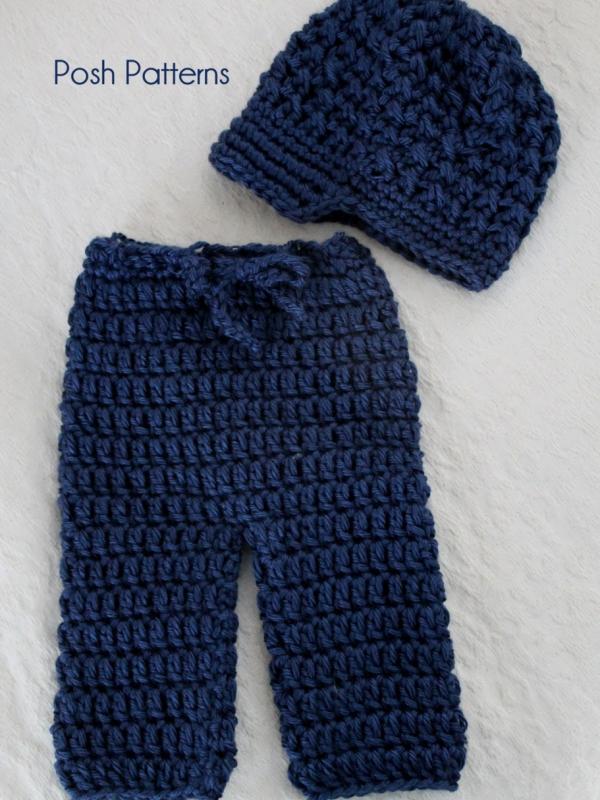 Crochet Patterns Newborn Pants Longies and Newsboy Visor hat