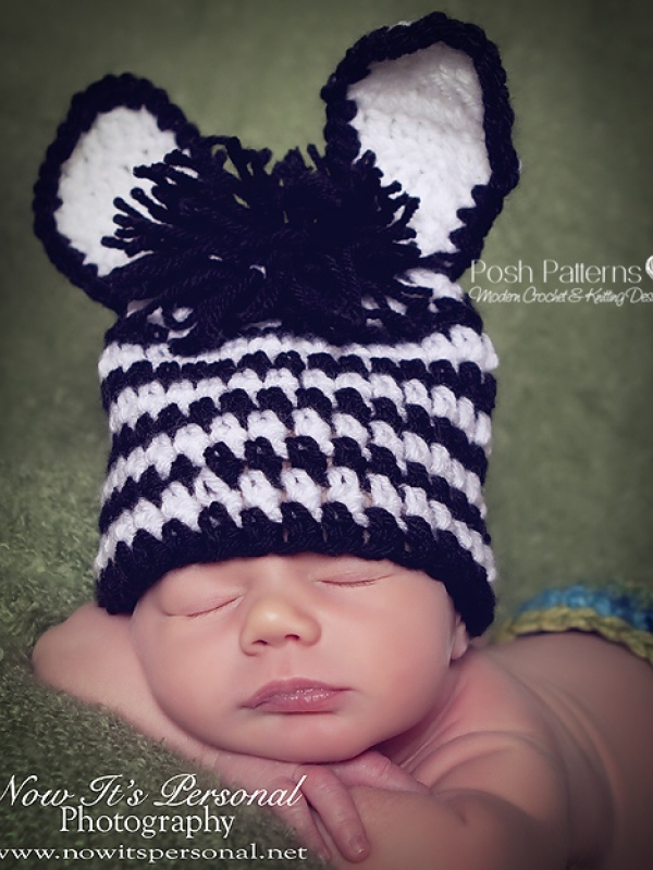 Crochet Pattern Zebra Hat : Zebra Hat Crochet Pattern Baby Zebra Beanie 3 Sizes