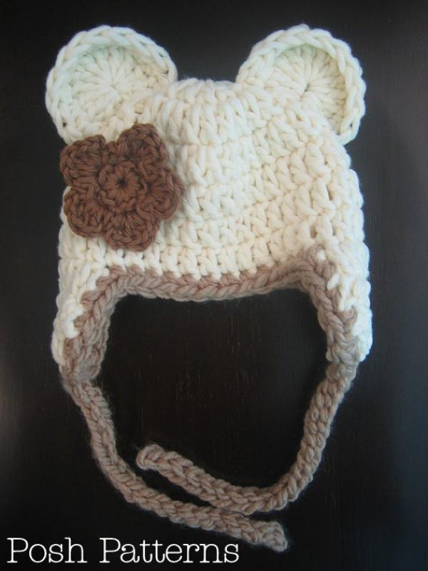 crochet bear hat pattern and flower