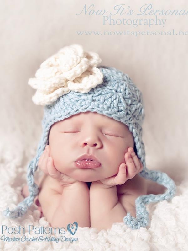 crochet hat pattern solid shells earflap hat with flower