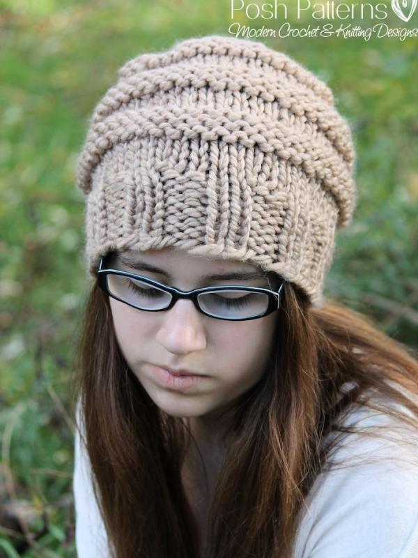 Knitting Pattern Knit Slouchy Hat Pattern Beehive Hat