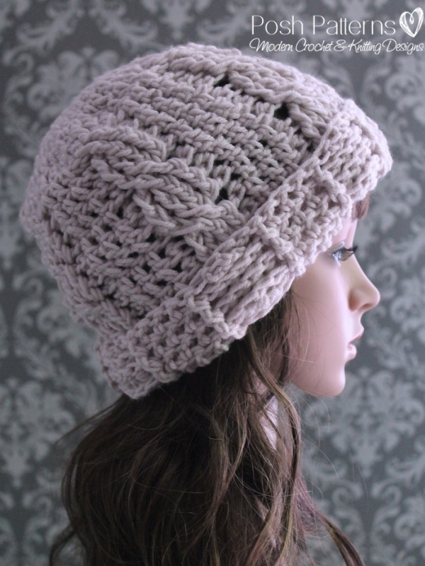 crochet cable watch hat