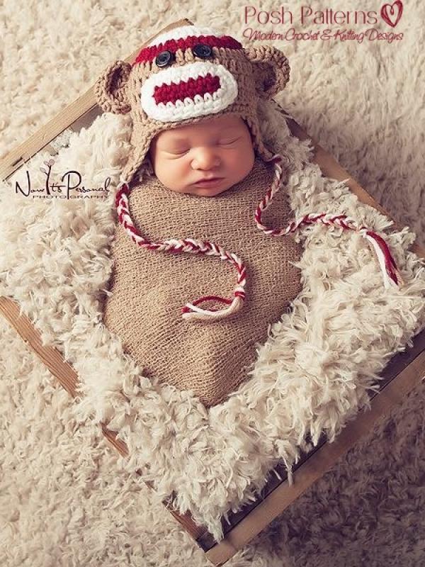 baby sock monkey hat pattern