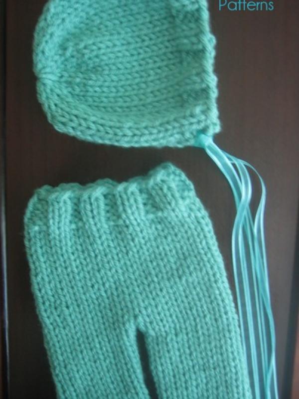 Knitting Pattern Newborn Pants And Bonnet Set