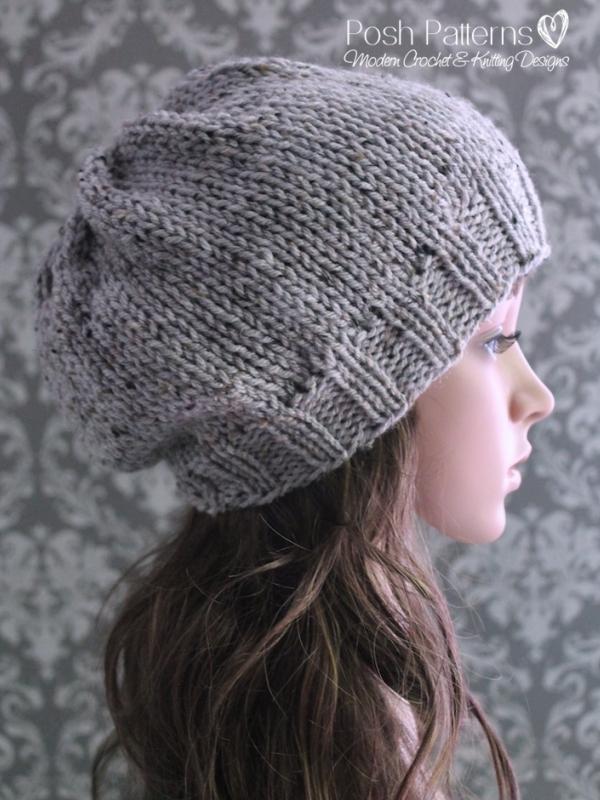 Slouchy Hat Knitting Pattern Knit Slouchy Hat Pattern