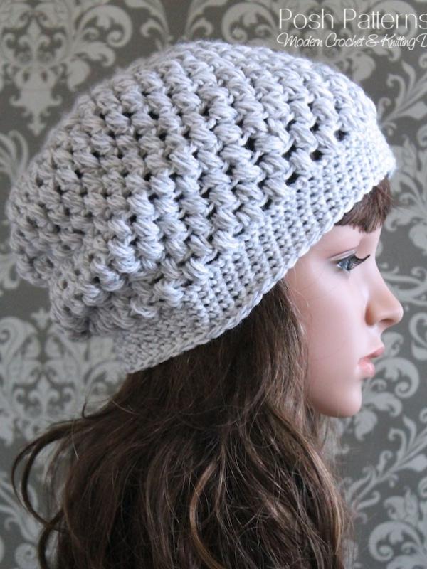 Crochet Slouchy Hat Pattern Cluster Stitch Beanie