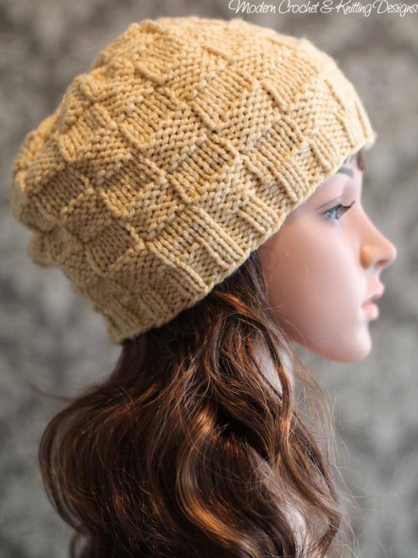 Basket Weave Hat Knitting Pattern Beanie Pattern