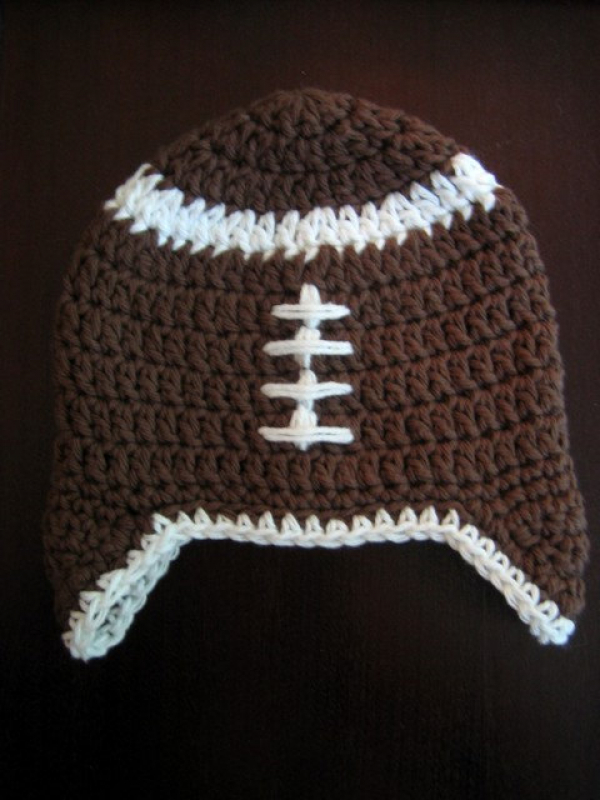 crochet hat pattern football earflap hat