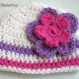 easy crochet hat pattern beanie and flower