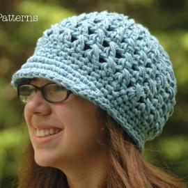 cross stitch newsboy visor hat crochet pattern