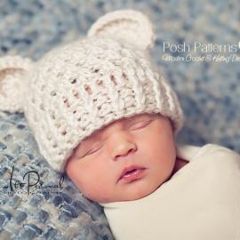crochet hat pattern lacy baby bear beanie