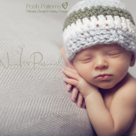 crochet hat pattern baby striped beanie