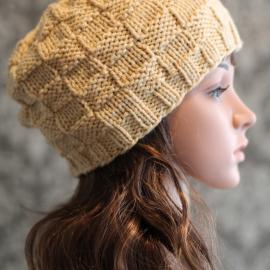 knit hat pattern basket weave