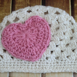 heart applique baby hat crochet pattern kids teen adult