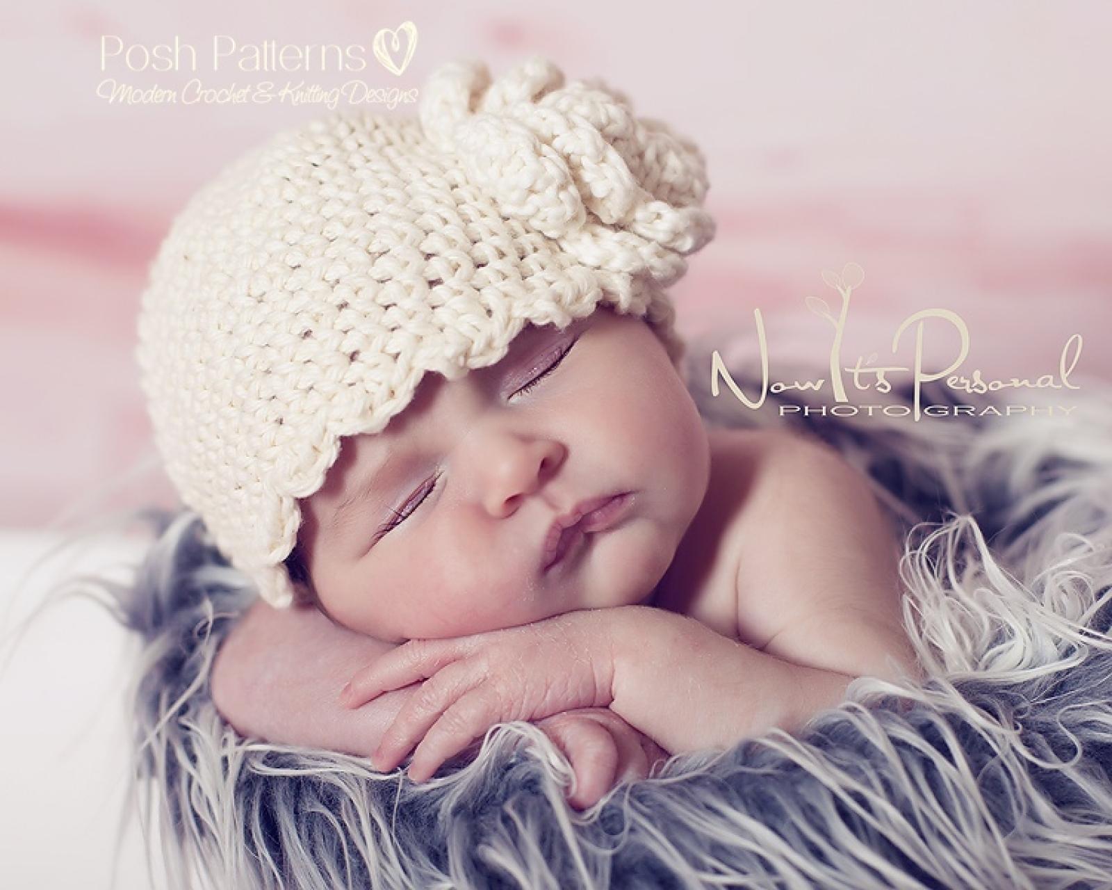 Crochet Pattern Ruffle Edge Hat & Flower | Sizes Baby to Adult